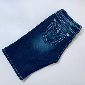 Miss Me Shorts - Miss Me • Boyfriend Bermuda Shorts Dark Demin 27